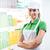дружественный · супермаркета · работник · большой · палец · руки · вверх · молодые - Сток-фото © stokkete
