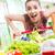 completo · cesta · de · la · compra · supermercado · mujer · empujando · alimentos - foto stock © stokkete