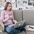 genç · kadın · kanepe · sipariş · çevrimiçi · bilgisayar · Internet - stok fotoğraf © stokkete