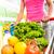 carrinho · de · compras · legumes · fruto · mulher · supermercado · empurrando - foto stock © stokkete