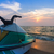 jato · mar · pôr · do · sol · céu · água · oceano - foto stock © stoonn