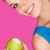 улыбаясь · красоту · зеленый · яблоко · изолированный - Сток-фото © stryjek