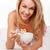 kadın · yeme · kahvaltı · yatak · mutlu - stok fotoğraf © stryjek