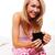 sorrindo · potável · manhã · café · sorridente · mulher · loira - foto stock © stryjek