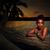 gün · batımı · portre · güzel · Asya · kız · ayakta - stok fotoğraf © stryjek