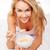 donna · bionda · letto · colazione · ragazza · alimentare · faccia - foto d'archivio © stryjek