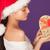 jonge · vrouw · hoed · geschenkdoos · witte - stockfoto © stryjek