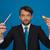 бизнесмен · бесплатная · доставка · бизнеса · стороны · карандашом · синий - Сток-фото © stryjek