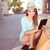 mooie · vrouw · tablet · vergadering · moderne · stoel · mooie - stockfoto © stryjek
