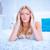 tired blonde woman in her bedroom stock photo © stryjek