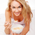 kobieta · jedzenie · śniadanie · bed · mleka · zboża - zdjęcia stock © stryjek
