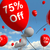 balloon with 75 off showing sale discount of seventy five perce stock photo © stuartmiles