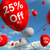 balloon with 25 off showing discount of twenty five percent stock photo © stuartmiles