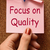 focus on quality note shows excellence and satisfaction guarante stock photo © stuartmiles