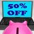 fifty percent off laptop means web sale price reduced 50 stock photo © stuartmiles