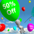 balloon with 50 off showing discount of fifty percent stock photo © stuartmiles