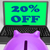 twenty percent off laptop shows 20 discounts online stock photo © stuartmiles