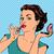 cara · menina · compacto · espelho · make-up · mulher - foto stock © studiostoks