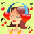 girl listening to music with headphones in the form of a red hea stock photo © studiostoks