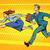 üzlet · verseny · nő · férfi · fut · pop · art - stock fotó © studiostoks