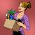bureau · femme · idée · portable · pointant · up - photo stock © studiostoks