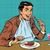 elegant retro man eats in the restaurant and drinking wine stock photo © studiostoks
