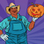 african american farmer with a halloween pumpkin stock photo © studiostoks