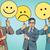 protesters with placards emoji joy sadness surprise stock photo © studiostoks