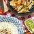 плоская · маисовая · лепешка · пряный · куриные · овощей - Сток-фото © studiotrebuchet