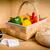 legumes · tabela · caixa · registradora · cesta · mesa · de · madeira · fundo - foto stock © superelaks