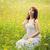 mulher · flores · campo · mulher · bonita · vestido · branco - foto stock © svetography