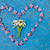heart shape formed from pink flowers on an old texture light blu stock photo © szabiphotography