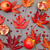 pomegranates and autumn red fallen leaves pattern on grey backgr stock photo © szabiphotography