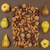 Autumn pear and nut pattern on brown background stock photo © szabiphotography