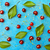 cherry cherries with leaves on light blue background stock photo © szabiphotography