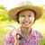 довольно · фермер · портрет · женщину · лице · трава - Сток-фото © szefei
