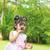 aranyos · indiai · lány · nagyító · gyermek · otthon - stock fotó © szefei