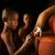 buddhista · imádkozik · gyertyafény · kolostor · portré · fiatal - stock fotó © szefei