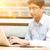 zakenman · met · behulp · van · laptop · cafe · vergadering · tabel · computer - stockfoto © szefei