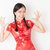 meisje · Rood · verwonderd · portret · jonge - stockfoto © szefei