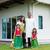 család · áll · kívül · új · otthon · lány · férfi - stock fotó © szefei