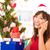 Navidad · saludo · nina · sombrero · llamada - foto stock © szefei