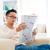zuidoosten · asian · mannelijke · lezing · krant · vergadering - stockfoto © szefei