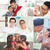 collage photo of fathers and children stock photo © szefei