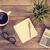 notepad · fincan · kahve · ahşap · masa · boş · kâğıt - stok fotoğraf © szefei