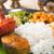 tyúk · hús · vegyes · rizs · zöldségek · egészséges - stock fotó © szefei