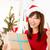 heyecanlı · Asya · Noel · sunmak · kadın - stok fotoğraf © szefei