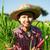 молодые · фермер · портрет · женщину · лице · трава - Сток-фото © szefei