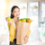 woman holding groceries bag in market stock photo © szefei
