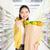 nő · fizet · élelmiszer · áruház · pénztár · étel - stock fotó © szefei